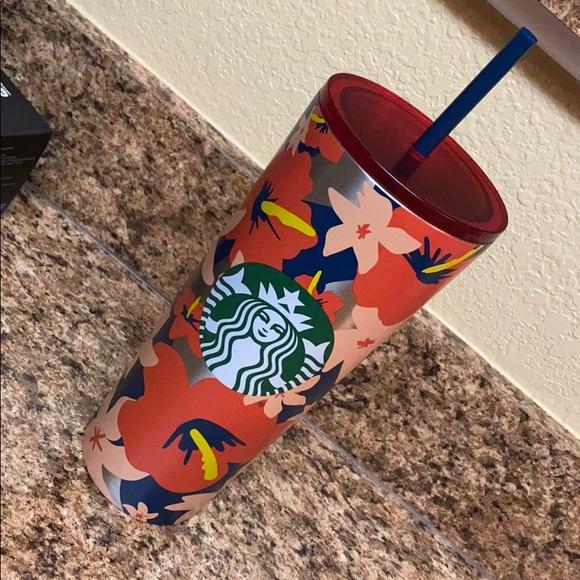 NWT Starbucks Orange Navy Hibiscus Flower Tumbler